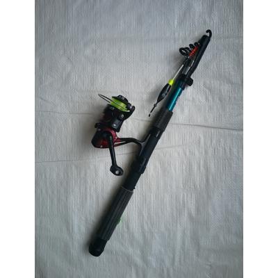 izvelkama makšķere ar spoli auklu pludiņu āķi 210cm